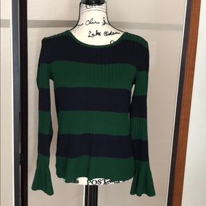 Cable &Gauge Navy/green sweater bell sleeves sizeS